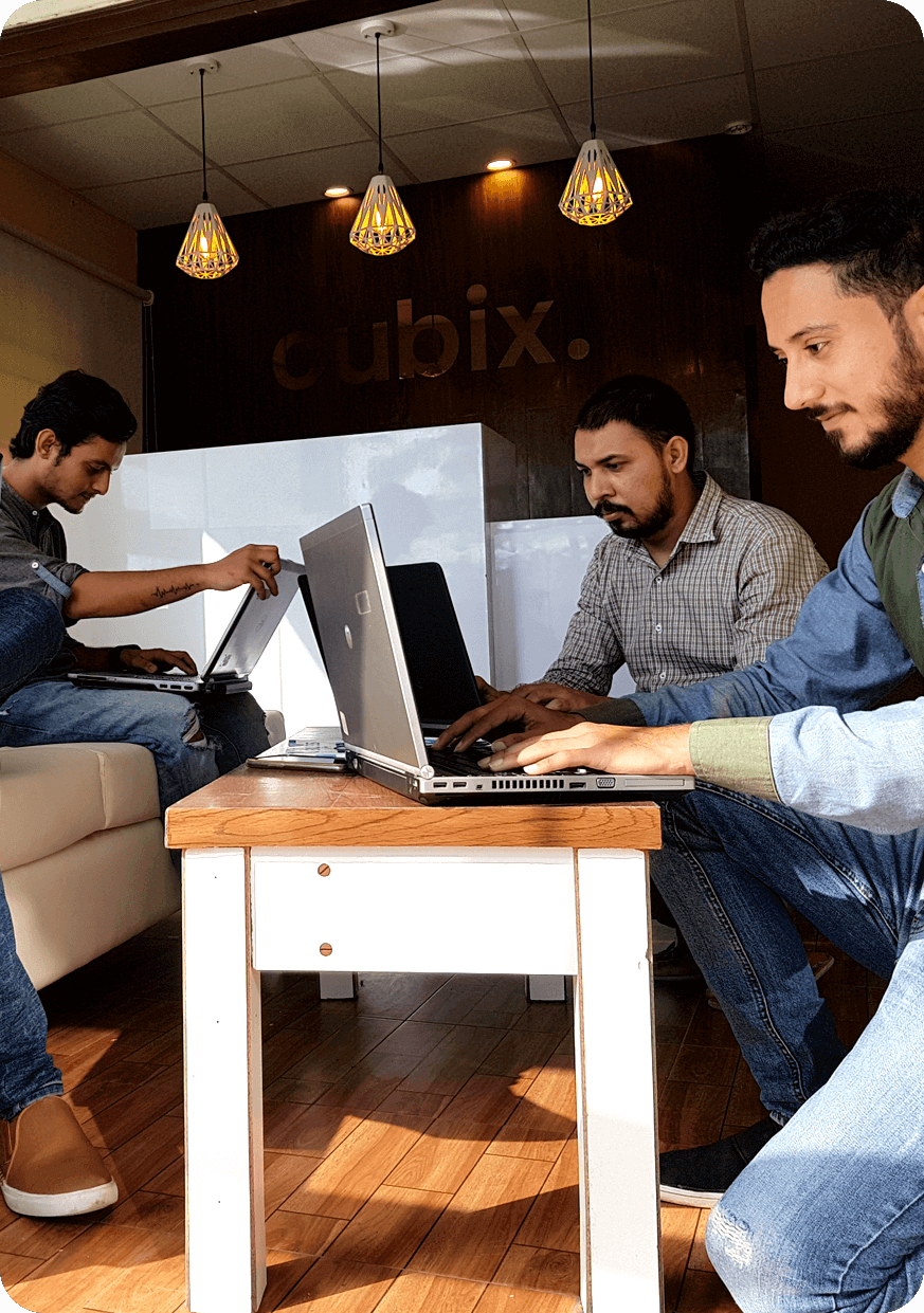 Cubix Mobile App Developers Team Working on Project